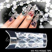 100 Pcs MOSAIC NAIL ART ACRYLIC UV GEL FRENCH FALSE Diamond TIPS Fiberglass Salon Tool