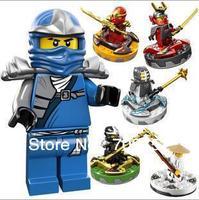 Wholesales 192pcs/lot (6pcs/set) Ninja Fighting Spin Top, Ninjago Spinner, Sensi Wu/Jay ZX/Kai ZX/Kendo Zane/Samurai X/Cole ZX