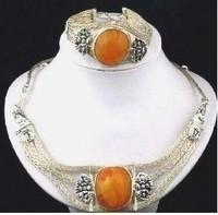 Tibetan Silver Amber Necklace Bracelet Set