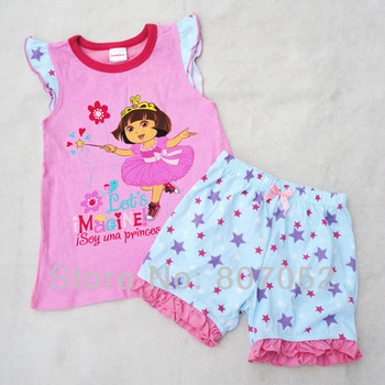 Free Shipping 2013 latest style children/girl/baby clothes dora T shirts sets clothing sets baby wear shorts 4sets/lot CS312