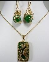 Fashion emerald green jade dragon suit Pendant Necklace Earrings