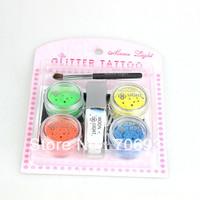 Tattoo Designs Free Sleeve Tatoo Glitter Tattoo 1set/lot 4 Colors Arm Chest Tattoos Glow In The Dark
