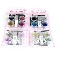 Tattoo Designs Free Sleeve Tatoo Glitter Tattoo 1set/lot 4 Colors Arm Chest Tattoos Mioonlight Glue