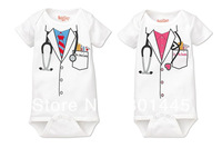 Summer baby girl baby boy short sleeve romper doctor design 100% cotton for 60~100cm growth free shipping wholesale