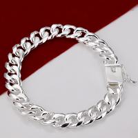 H037 2014 New Chunky 925 Silver Bracelets Jewelry Prata Pulseiras masculina pulseras new 2014 male