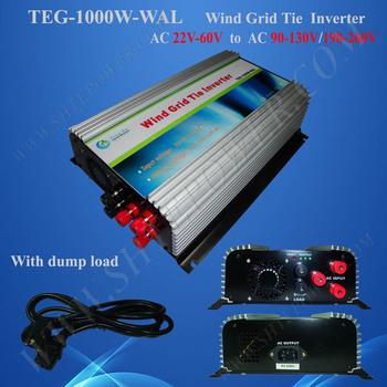 1kw /1000w wind grid tie inverter build in controller 3phase input AC 22v-60v output.AC 90V-140V,190V-260V