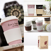 Free Shipping Paper cup anti-hot mug ceramic cup eco