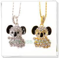 Retail genuine 2G/4G/8G/16G/32G usb flash drive memory pen stick Gold koala Diamond Jewelry Metal Free shipping+Drop shipping