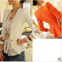 On sale On sale 2013blazer women apparel 2012 autumn new arrival small lotus leaf after slim flower cuff blazer short jacket w61