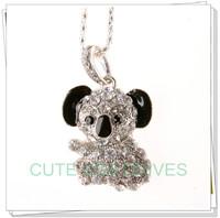 Retail genuine 2G/4G/8G/16G/32G usb flash drive memory pen stick Silver koala Diamond Jewelry Metal Free shipping+Drop shipping
