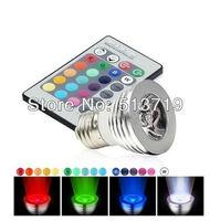 16 Color Changing E27 3W RGB LED Light Bulb Lamp AC90V~240V + IR Remote Control free shipping