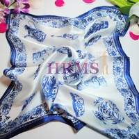 Free shipping!Hrms 100% Natural silk small facecloth mulberry silk chinese style blue and white porcelain silk scarf