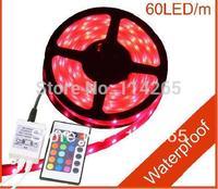 SMD 5050 LED Strip RGB 5M 300LEDs IP65 Flexible Strip light flash lamp including 24 key IR remote&receiver  Waterproof
