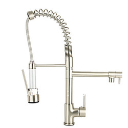 nickel brushed deck mount single handle sink faucet pull out and down kitchen sink faucet pull out kitchen vessel faucet L-199(China (Mainland))