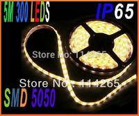 LED Strip lighting SMD 5050 5M 300 LED 60LED/M IP65 DC12V14.4W/M Waterproof five slectable RGB colors corn bulb flash lamp