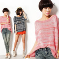 Free Shipping Karisma spring new arrival batwing sleeve loose stripe slit neckline sweater pullover female Hot Selling