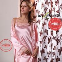 Free Shipping Women's sleepwear lounge summer Women sexy spaghetti strap women's silk faux silk robe bathrobes twinset