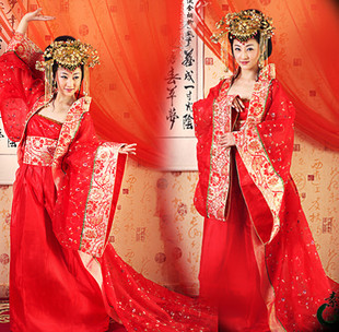 parade evening dress Tang suit hanfu costume red train queen clothes real pictures with model(China (Mainland))