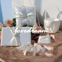 Sep sale wedding accessories/Wedding Set/ring pillow / Guest Book / Pen Set / Flower girl basket /Garter