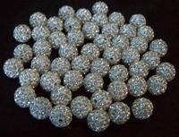 Fasion!Free Shipping!10mm 100pcs/lot White Micro Pave CZ Disco Ball Beads Shamballa Crystal.Wholesale! Stock!High Quality!