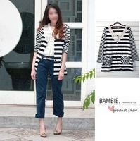 Free Shipping Single black and white stripe cutout crochet o-neck single breasted long-sleeve sweater cardigan