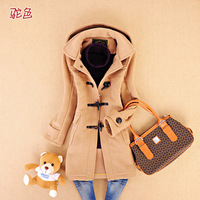 Free Shipping 12 autumn and winter clothing solid color horn button long design woolen overcoat outerwear