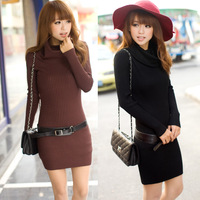 Spring and autumn 2013 women's vintage slim pullover long design knitted heap turtleneck sweater outerwear with belt