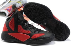 Free Shipping Wholesale Hyperfuse 2011 Men's Basketball Sport Footwear Sneaker Shoes - Black / Varsity Red / Gold(China (Mainland))