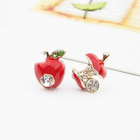 Min.order is $9.9 (mix order) free shipping,New Fashion Lovely Red Cartoon Apple Earrings Best fine gifts Cute