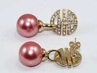 free shipping,gift  dark pink 10mm shell pearl  Natural Pearl Earring more color to choose