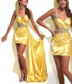 new luxury best selling sweetheart yellow satin short long homecoming party evening dress