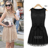 European Style free shipping women's lace mesh yarn splicing women ladies dress M-L retail/wholesale