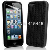 Black Tyre Tread Wheel Wooden Grain Silicone Case Cover For iPhone 5 5G 5S, Free Gift+Free Shipping 10pcs