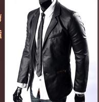 Men's New suit England Slim PU korean shorts coat leather jacket fashion Banquet clothing Free shipping pengliu wang's store