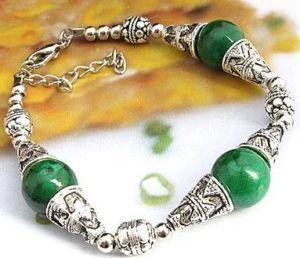 Asian nice Tibet Silver Green Jade bracelets
