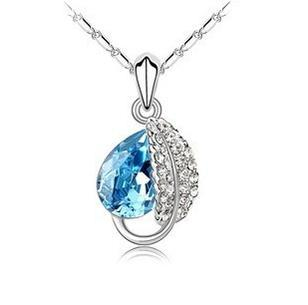 Free Shipping Promotion Valentine`s Day Gifts Wholesale Crystal Leaf Pendant Necklace Jewelry(China (Mainland))