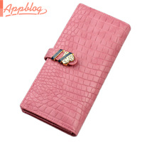 sweet gentlewomen wallet female long design crocodile pattern wallet small fresh PU clip money bag