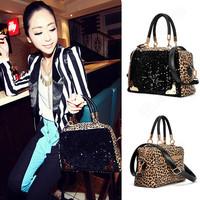 European women leopard sequined shoulder bag/handbag