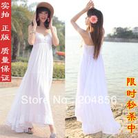 free shipping ladies' dress Spaghetti strap white long design one-piece fashion dress beach dress bohemia ultra long skirt