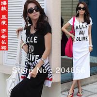 free shipping Letter short-sleeve cotton ladies' dress one-piece dress bohemia length full dress one-piece casual beach dress