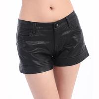 2014 fashion dull PU shorts female mid waist boot cut jeans leather pants plus size pants Free Shipping