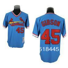 Wholesale & Retail Free Shipping baseball Jersey,St. Louis Cardinals #45 Bob Gibson Throwback Jersey,Size M-3XL,mix Order(China (Mainland))