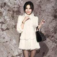 2012 marten overcoat mink fur white female medium-long outerwear lf122