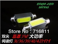 Free Shipping Festoon LED Reading Light 12V 31mm/36mm/39mm 3W LED Car Auto Interior Tail-box Bulbs