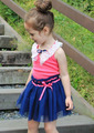 2013 Summer Children Baby Girls Lace Collar Patchwork Vest Dress Princess Dress Kid Clothes Free Shipping 5 PCS