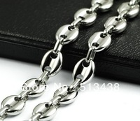 Free ship! 21.6'' Shinying men's jewelry silver 100% Stainless Steel box&Coffee beans link chain necelace,good BF gifts
