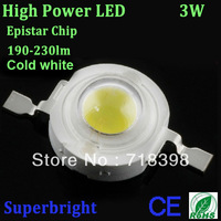 free shipping 50pcs x 3W epistar led chip cold white 7000-8000K high power led light 700mA led emitting diode RoHS CE