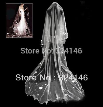 T146 3m  trailing white Bridal Veils little white flowers wedding veil best gift for bride hair Accessories