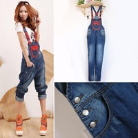 2013autumn and winter of four season personalized patchwork women's denim bib pants jumpsuit romper jeans/overalls free shipping