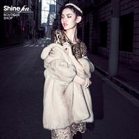 2012 5-color fashion mink fur coat marten overcoat Women